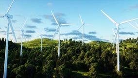 Turbine di vento nel campo verde paesaggio del monderfull Concetto ecologico rappresentazione 3d Fotografie Stock