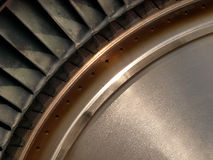 Turbine disc. Partial view of jet engines compressor turbine disc Royalty Free Stock Image