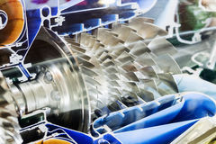 Turbine Engine Profile.  Aviation Technologies. Aircraft jet engine detail in the exposition Royalty Free Stock Images
