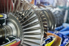 Turbine Engine Profile.  Aviation Technologies. Aircraft jet engine detail in the exposition Royalty Free Stock Photography