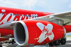 The turbine enginer of Airbus A330. The picture shows the turbine engine of Airbus plane that belongs to Air Asia  at the Low Cost Carrier Terminal in Kuala Stock Image
