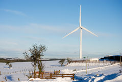 Turbine and farm Stock Photo