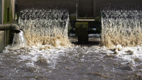 Turbine in waste water treatment plant. stock footage