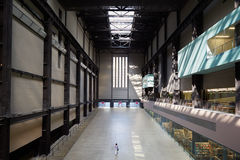 Turbine Hall in Tate Modern Art Gallery, one woman in London Royalty Free Stock Photography