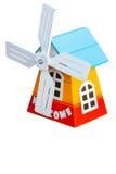 Turbine house,decoration of handmade wooden windmill. Royalty Free Stock Photo
