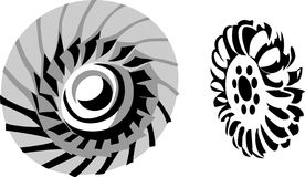 Turbine. Hydroelectric turbine in greyscales and black and white royalty free illustration