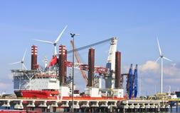 Turbine Installation Vessel In Eemshaven, Netherlands Royalty Free Stock Photos