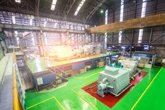 Turbine machine in power plant room to generate energy ,power electricity. Electric generators. Machine in sugar mill factory on production line. - Factory royalty free stock photos