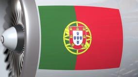 Turbine met vlag van Portugal Het Portugese luchtvervoer bracht conceptuele 3D animatie met elkaar in verband stock illustratie