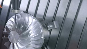 Turbine. Milling Turbine Blades Machining Process stock video