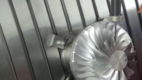 Turbine Milling. Milling Turbine Blades Machining Process stock video footage