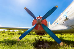 Turbine of old russian turboprop aircraft Stock Photo