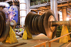 Turbine - Out of Action Repair. Turbine, from a coal powered electricity factory - Out of Action for routine maintenance inspection and minor repairs stock photos