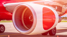 Turbine of passenger plane in airport Stock Image