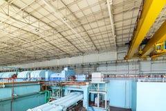 Turbine plant nuclear power station. Turbine room of nuclear power plant.. The interior of the turbine shop stock photos
