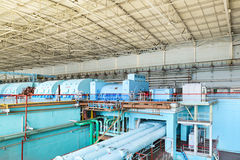 Turbine plant nuclear power station. Turbine room of nuclear power plant.. The interior of the turbine shop Royalty Free Stock Photography