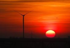 Turbine Sunset. Silent turbine silhouette at sunset Stock Photos