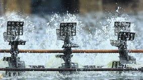 Turbine water. In running in White-leg shrimp farming in pond stock footage