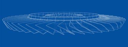 Free Turbine Wheel Concept Outline. Vector Royalty Free Stock Photo - 183501255