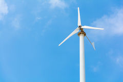 Turbine white on blue sky Stock Photo