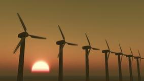 Turbinen der Windmühlen-4k säubern an Sonnenaufgang timelapse, grüne Wind-Energie, neue Energie stock footage
