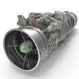 Turbinen-Kreiselbegläse Flugzeugmotor auf Weiß 3D Illustration, Beschneidungspfad stock abbildung