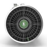 Turbinen-Kreiselbegläse Flugzeugmotor auf Weiß Front View 3D Illustration, Beschneidungspfad Lizenzfreie Stockfotografie