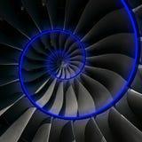 Turbinenschaufel-Flügelspiralenblauer Neonglüheneffektzusammenfassung Fractal-Musterhintergrund Gewundenes industrielle Industrie Stockfoto