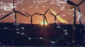 turbines éoliennes et connexions réseau blanches avec données banque de vidéos