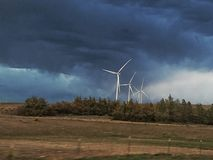 Turbines against Thunder Storm stock photography