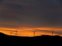 Turbines au lever de soleil en montagnes du Vermont Photos libres de droits