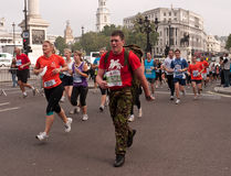 Turbines dans demi de marathon de stationnements royaux, Londres Images libres de droits