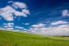 Turbines de vent écologiques en été en tant qu'énergie de substitution  Photographie stock libre de droits