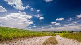 Turbines de vent blanches dans un pré en tant qu'énergie de substitution  Image libre de droits