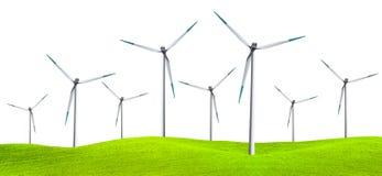Turbines de vent d'isolement sur la zone verte images stock
