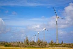 Turbines de vent dans le désert Photographie stock