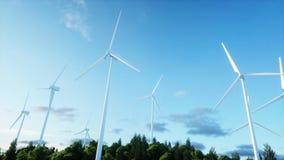 Turbines de vent dans le domaine vert paysage de monderfull Concept écologique rendu 3d Image libre de droits