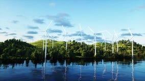 Turbines de vent dans le domaine vert paysage de monderfull Concept écologique rendu 3d Photos stock