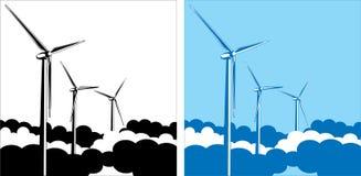 Turbines de vent dans les nuages Photographie stock libre de droits