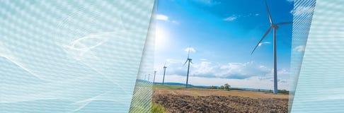 Turbines de vent dans un horizontal rural Drapeau panoramique illustration stock