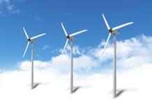 Turbines de vent en ciel illustration stock