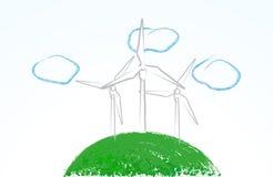 Turbines de vent mignonnes Photographie stock libre de droits