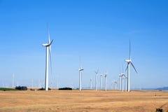 Turbines de vent sur des collines de coucher du soleil de la Californie Images stock