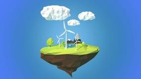 Turbines de vent sur l'île de flottement, bas poly style Photo stock