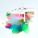 Turbines de vent sur le fond d'aquarelle Photos stock