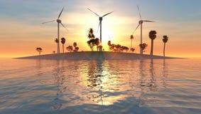 Turbines de vent, zone jaune illustration libre de droits