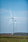 Turbines de vent, zone jaune Photo libre de droits