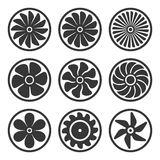 Turbines and Fan Icons Set. Turbojet Engine Power. Vector Stock Images