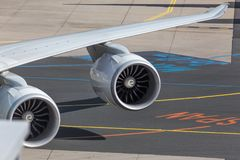Turbines simples d'avions Photographie stock