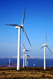 Turbines and the sky in the isle of lanzarote spain Royalty Free Stock Images